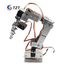 Aluminium Robot 6 DOF Arm Mechanical Robotic Arm Clamp Claw Mount Kit w/ Servos Servo Horn for Arduino-Silver
