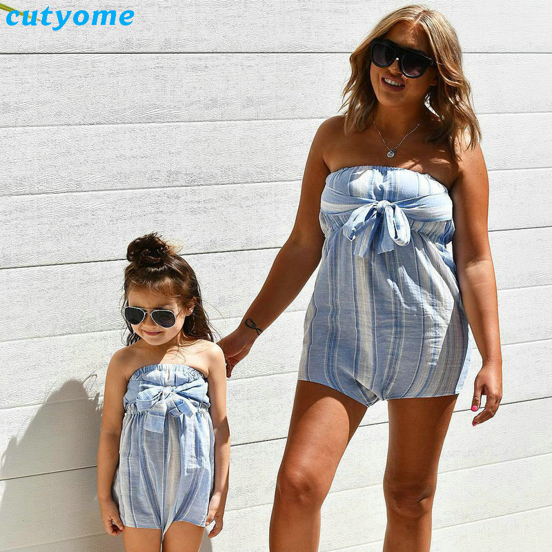 Mother Women And Daughter Girl Matching Clothes Striped Overalls Dress One-pieces Jumpsuits For Mommy And Me Family Outfits (15)