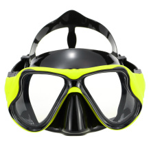 Yellow Women Snorkel Mask Adult diving and swimming products black silicone  two windows tempered glass  scuba gear diving mask