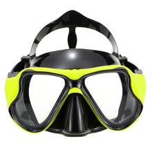 Yellow Women Snorkel Mask Adult diving and swimming products black silicone two windows tempered glass scuba gear diving mask(China)