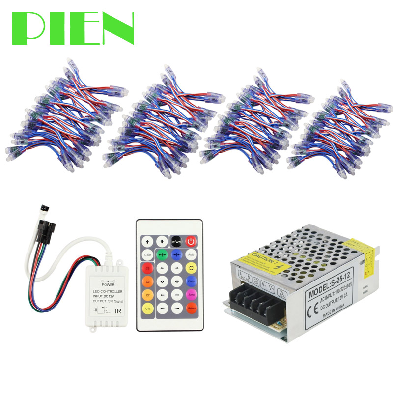 12mm WS2811 led pixel module waterproof DC5V addressable christmas lights Dream Color + 24key Controller + power Supply 200pcs<br>
