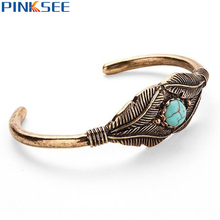 1 pc Vintage Europe Inlaid Turquoise Open Cuff Bracelet Classic Leaf Bangle Jewelry For Women Antique Gold Silver Color