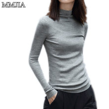 2017 Women Knitted Sweaters New Spring Long-Sleeve Turtleneck Pink Solid Women Sweater Crochet Pullovers Knitwear Clothing Tops