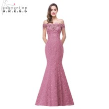 Under $50 Elegant Crystal Beaded Red Royal Blue Lace Mermaid Long Evening Dresses 2017 Prom Party Dress Robe De Soiree Longue(China)