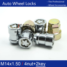 4 Tuerca M14x1.5 Chrome Wheel Locks TUERCAS + 2 TECLAS anti-sheft seguridad set sistema Para Lincoln MKX Ford EDGE F-150 MUSTANG S-MAX