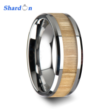 SHARDON 6mm/8mm Tungsten Ring with Polished Bevels and Ash Wood Inlay Wedding Band(China)
