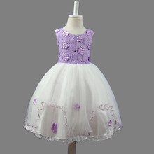 Purple new models show children dress girl princess style flower girl dress elegant princess wedding dresses(China)
