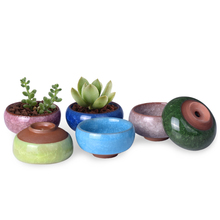 WITUSE Cute Ice-Crack Bonsai Ceramic Flower Pot Succulent Plants Potted Desk Decor Glazed Ceramic Pot For Home Office 2.5*1.3""