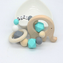 Personalized Name Teething Ring Wooden Bird Teether Baby Gift Choose Your Colour Teething Toy Baby Shower Gift Natural toy(China)