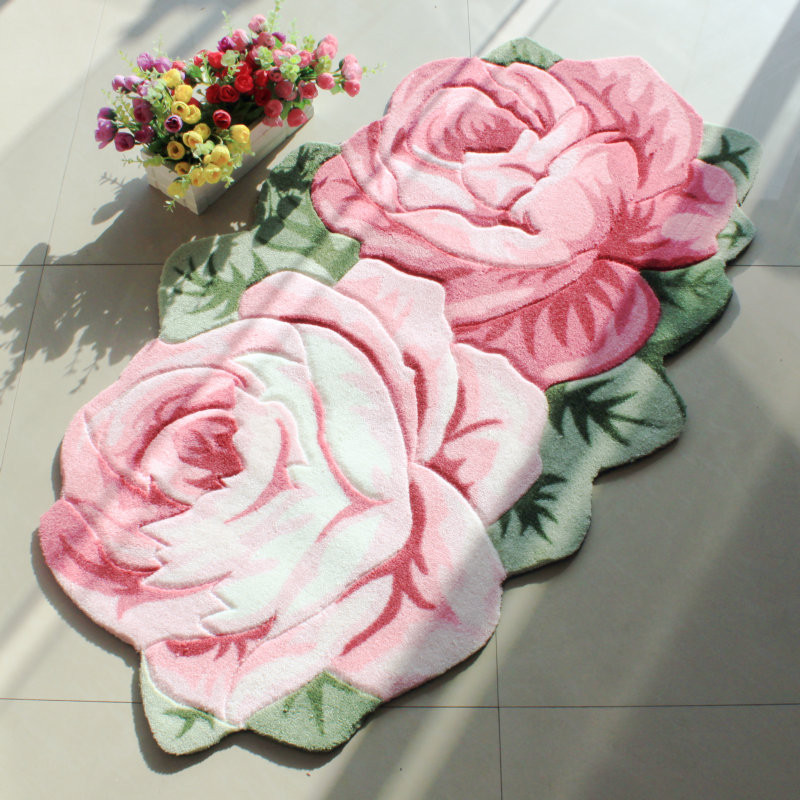 Rose Flower Shaped Rugs Mechanism Of Color Printing Acrylic Double Door  Carpet Of The Sitting Room