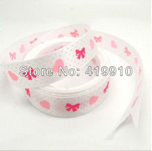 5 Yards White Hearts&Rosette&Dot 16mm Wide Wedding Craft Printed Satin Ribbon c37