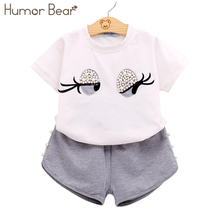 Humor Bear Girls Clothing Set Pearl Girls Clothes Set Lovely Long Eyelashes Toddler Girl tops + Pants Girls Suit Kids Clothes(China)