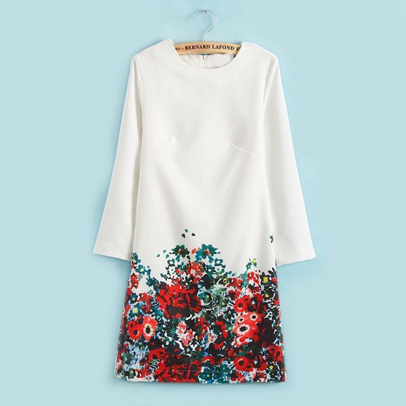 2017 spring dress package hip casual dress long sleeve dress printing womens clothing slim white dress