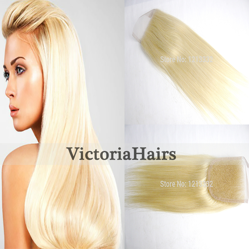 Hot Brazilian Human Hair Bleached Knots Blonde Free Part Lace Closure Virgin Hair Extension Human Hair (#613) Grade8A Hair Style<br><br>Aliexpress