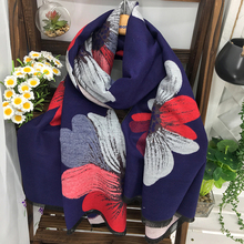 Fashion Big Flower Printing Women Imitation Cashmere Navy Blue Long Pashmina Shawl Best Ladies Winter Acrylic Warm Scarf Tippet(China)