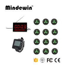 Mindewin New Design Pager Receiver 1 LED Display + 1 Watch Pager + 12 Waiter Calling Service Button Wireless Call Bell System(China)
