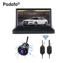 "Podofo Wireless 5"" Car Rear View System Color LCD Car Reverse Rearview Monitor + Car Backup HD Color Reverse Rear View Cameras"