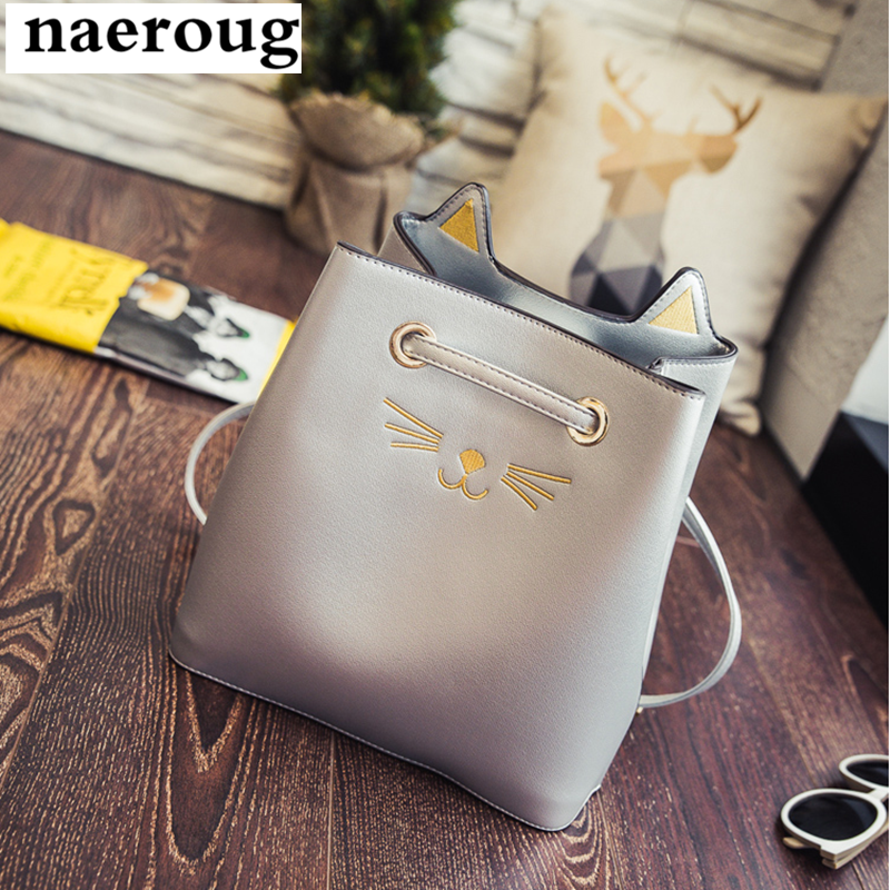2017 New Fashion Silver Bags Famous Brand Cute Cat Design Women Messenger Bag Shoulder Crossbody Bag for Women Bucket Bags Sacs<br><br>Aliexpress