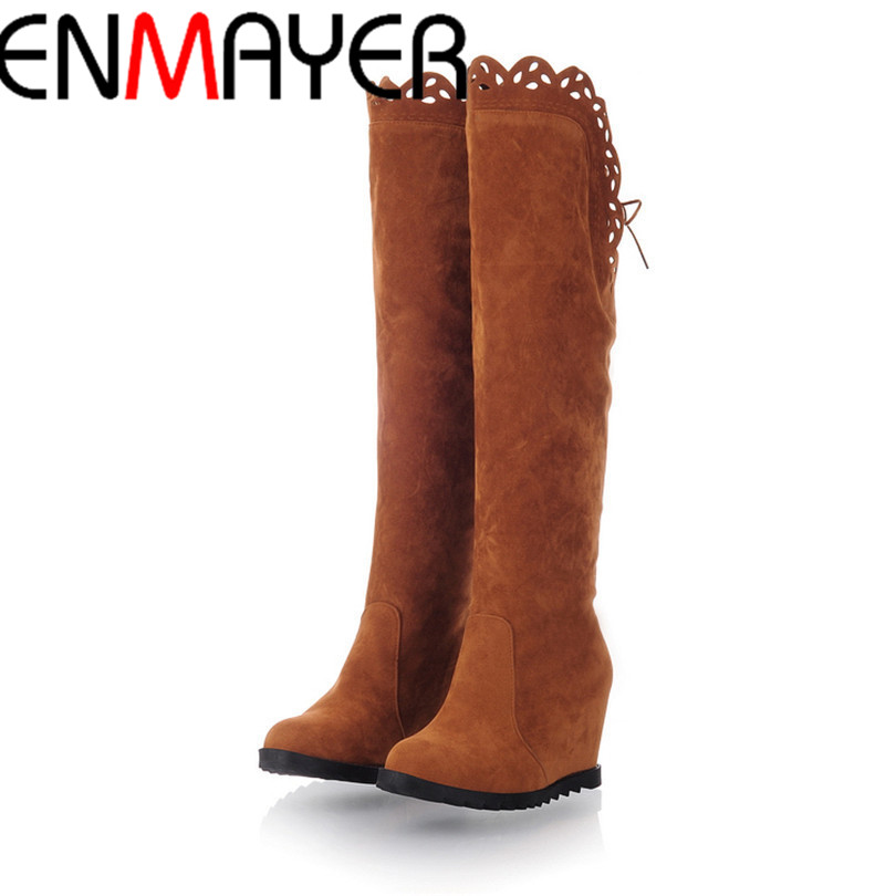 ENMAYER Free Shipping New Winter Fashion, Knee Buckle Sleeve Knight Boots W Omens Boots, Wedge Heels Black Brown<br><br>Aliexpress