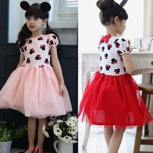 Toddler Baby Girls Kids Princess Pageant Party cartoon mouse  Dress red/pink Dot summer Dresses 2-7y