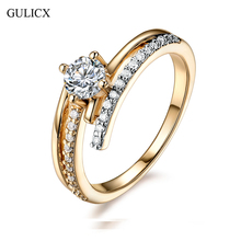 Buy GULICX High Micro CZ Paved X Shape Half Eternity Rings Gold-Color Prongs Wedding Accessories Jewelry Rings Women for $4.15 in AliExpress store