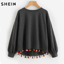 SHEIN Colorful Tassel Trim Dip Hem Heathered Pullover Grey Long Sleeve Casual Autumn Womens Sweatshirts Pullover(China)