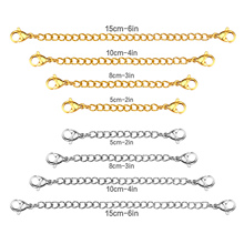 Wholesale 8pcs/lot 316L Extended Chain Necklace Stainless Steel Rolo Chains,Four Different Length,Gold and Steel Bulk Chain(China)
