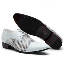 Men Dress Shoes Embossed Leather Shoes Men Oxfords Pointed Toe Lace Up British White Blue