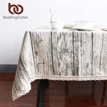 BeddingOutlet Vintage Wood Grain Table Cloth Simulation Patterned Rustic Tablecloth Rectangle Table Cover Washable Decoration(China)
