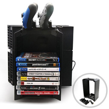 PS4 Multifunctional Detachable Holder Game Disk Storage Tower+Dual Dock Controller Charging Station for PlayStation PS4/PS4 Slim(China)