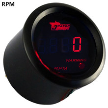 "EE support New Digital Clocks 2"" 52mm Black Shell Red LED Tacho Gauge Tachometer RPM car-styling XY01(China)"
