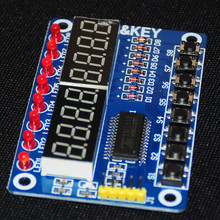 TM1638 LED Display 8-Bit Digital Tube  Module For Arduino AYR 7 Segment 8 Bits 0.36Inch RED TM1638 KEY LED Display Board Panel