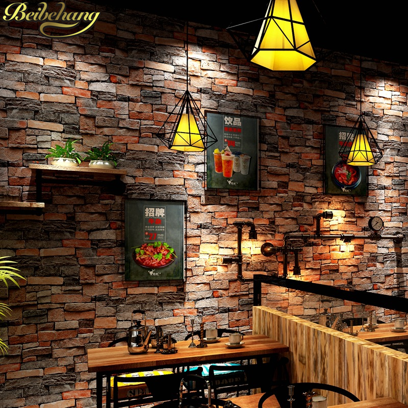 beibehang Wood Blocks Effect Brown Stone Brick 10M Vinyl Wallpaper for Living Room Background Wall Decor Art mural Wall Paper<br>