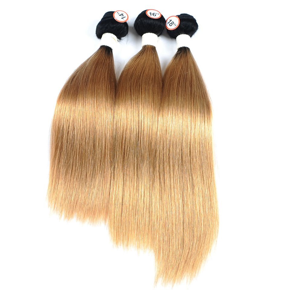 Pinshair Pre-Colored Honey Blonde 1B 27 Brazilian Straight Hair Bundles With Closure Ombre Dark Roots Human Hair Nonremy No Shed (26)