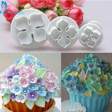 OnnPnnQ 3Pcs/Set Silicone Hydrangea Fondant Cake Decorating SugarCraft Plunger Cutter Flower Blossom Mold Home Kitchen Bake Tool