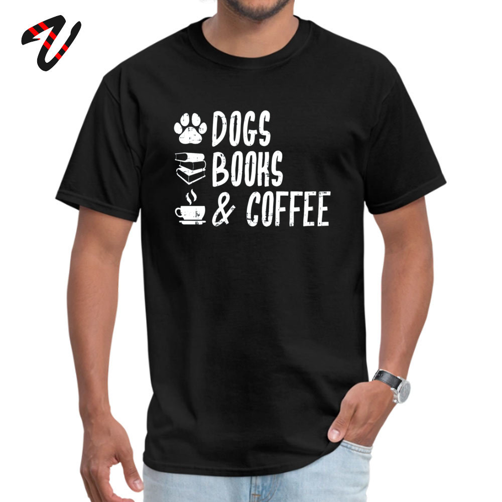 Printed 100% Cotton Fabric T Shirts for Men Short Sleeve Crazy Tops Shirt Graphic NEW YEAR DAY Round Neck _black T-shirts Design Dogs Books and Coffee Dog Lover Coffee Lover  black