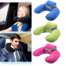 Portable U Shape Neck Pillow Inflatable Travel Pillow Neck Head Support Flocking PVC Pillow For Airplane Office Car Home Textile