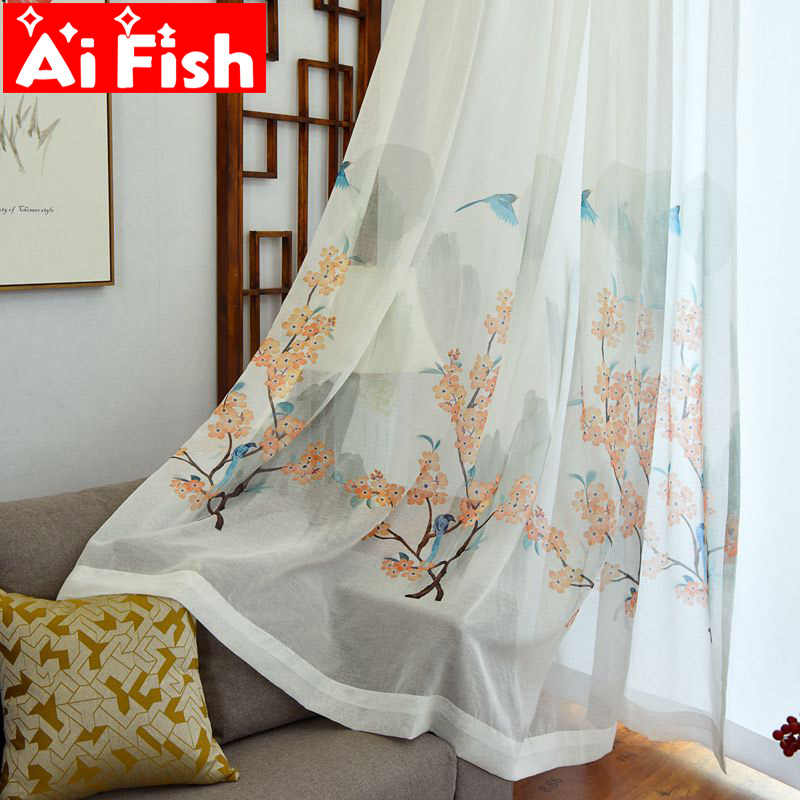 Custom Study Room Window Sreen Sheer Panels  Begonia Flower Bird Chinese Hand-painted Printed Curtains For Living Room  MY033-40