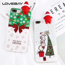 Lovebay Phone Case For iPhone 6 6s Plus Noctilucence 3D Cute Cartoon Santa Claus Christmas Tree Sock Soft TPU Gift For iPhone 6