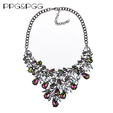 PPG&PGG Latest Design Beads Statement Necklace Crystal Women Choker Bib Necklace Christmas Gift(China)