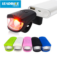 Leadbike USB Rechargeable LED Silicone Bicycle Front Light 3W Super Bright Waterproof MTB Road Bike Headlight Cycling Flash Lamp(China)