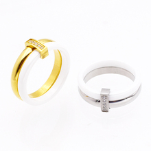 QLZBAO New Fashion Jewelry Delicate Stainless steel And Ceramics Rings For Women Manual Mosaic Zircon Ring For Wedding Gift(China)