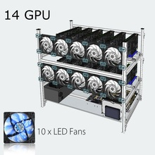 Stackable Open Air Mining Rig Frame Miner Case + 10 LED Fans For 14 GPU ETC BTH New Computer Mining Case Frame Server Chassis(China)