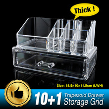 11 Grid 2 Layer Drawers Cabinet Storage Box Makeup Case jewelry Organizer Container Brand Clear Acrylic Display Stand EQC365