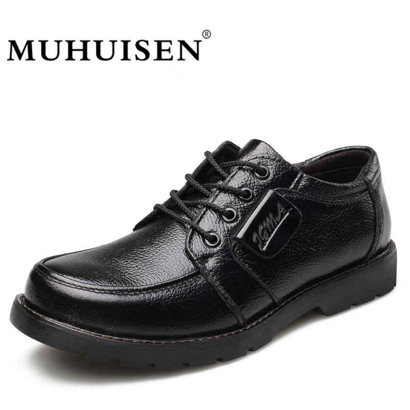MUHUISEN Men Casual Shoes 2018 Genuine Leather Men Oxford Shoes Fashion Autumn Winter High Quality Lace Up Work Flats Shoe<br>