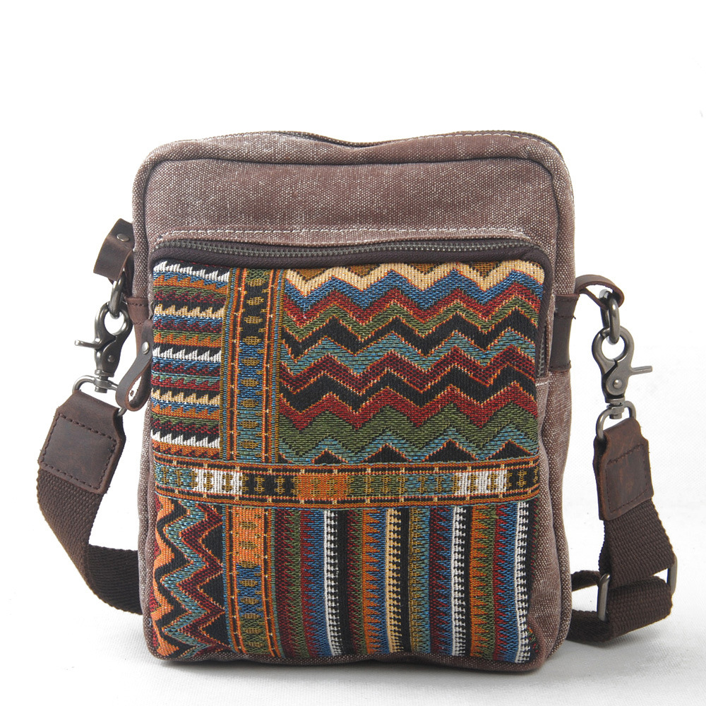 Canvas Ethnic Messenger Bag for Women National Shoulder Bag Female Casual Small Flap Bag Mujer Embroidery Travel Crossbody Bag<br>