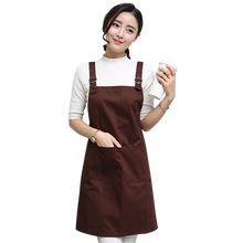 Fashion Women Lady Adult Aprons Waterproof Kitchen Cooking Baking Cotton Apron Coffee Tea Shop Restaurant Overalls Custom LOGO