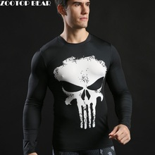 Punisher T-shirt Men Compression Tops Punisher Long Sleeve Superhero Tee shirts Fitness Tactic Funny Camiseta 2017 ZOOTOP BEAR