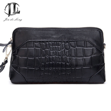 *#Brand New Plaid Genuine Leather Women's Daily Clutch Bags Crossbody Shoulder Zipper Bags Ladies shopping Party Bag