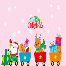 Cartoon Santa Claus Deer Riding Train Christmas Window Wall Stickers Static Electricity Home Kids Room Decor PVC Wall Decals(China)
